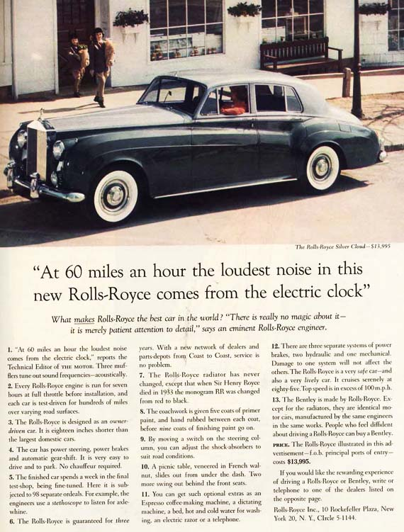 David Ogilvy Rolls Royce classic advertisement